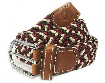 Ciranuco - Multicolored woven belt with leather, for men - nylon elastic woven leather belt