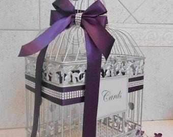 Silver Wedding Birdcage Card Holder | Wedding Card Box | Purple Wedding Card Box | Wedding Card Holder | Wedding Decor