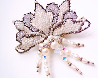 Art Nouveau Pearl Brooch, Snow Queen, Gift for Her, Statement Piece, White Wedding, Bridal Jewelry, Headpiece, Seed Bead Jewelry