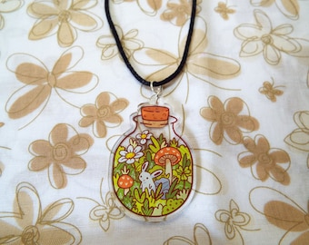 Garden Bunny in a Bottle Necklace