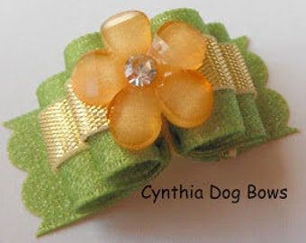 Dog Bow 5/8-  Yellow Acrylic Flower on Green Shimmer Ribbon and Gold Accent