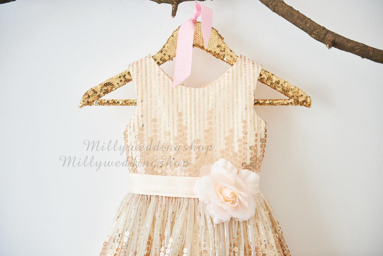 Rose Champagner Pailletten Blumenmädchen Kleid Junior