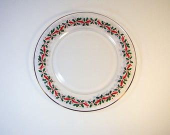 Vintage CHRISTMAS DESSERT PLATES Set/4 Holly Berries Arcoroc France  sc 1 st  Etsy & Christmas dessert plates | Etsy