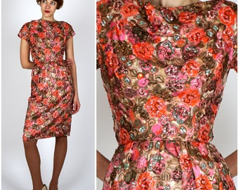 Gorgeous Vintage 50's Pink and Gold Sequined Wiggle Dress in Metallic Floral Silk Brocade by Wilson Folmar for Edward Abbott | XS