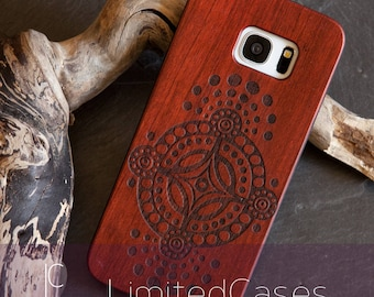 """Case for Samsung Galaxy S7 Edge with Rosewood Wood edition, laser engraving """"dots ornament"""""""