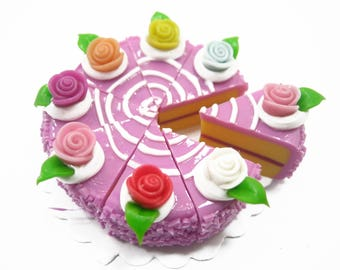 DollHouse Miniatures Food 1 Lilac Color Rose Cake 8 Cuts Slice 3.5 cm Supply Charms 10037