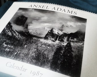 vintage Ansell Adams calendar 1987, photography prints for framing,  black and white lithography, large art calendar