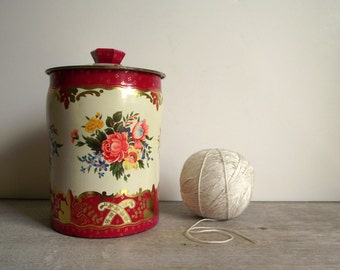 Horner Tin , Vintage Red Floral Canister with Lid , George Horner Co. England , Mid Century Kitchen Decor , Kitchen Storage , Cottage Chic