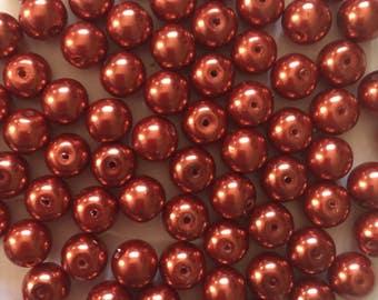 20 x 10mm Chocolate brown glass pearl beads