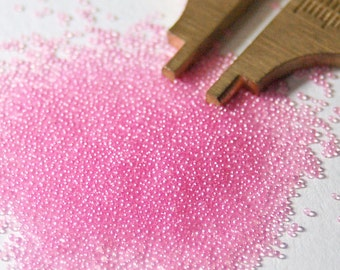 25g - No Hole Micro Glass Beads - pink - pearl color