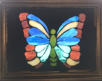 Butterfly Stained Glass Mosaic Art Panel in Frame