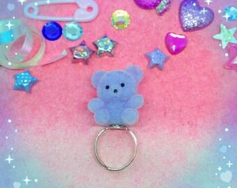 Fairy Kei pastel soft lavender purple bear ring