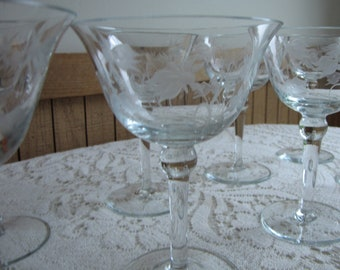 Etched Orchid Champagne Glasses Set of Six (6) Wine Glasses Vintage Barware
