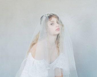 Fingertip veil, bridal sheer veil - Simple subtle lift veil with blusher - Style #785 - Made to Order