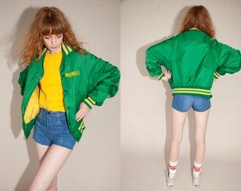 Vintage 70s 80s Varsity Jacket Green Yellow Stripes MICHELLE Baseball sport coat s/m