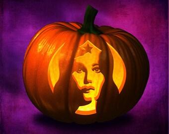 Wonder Woman, Jack o Lantern template, stencil, carving, Pumpkin, Halloween, template, pattern, design,pumpkin stencil, clipart, super hero