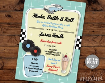 Shake Rattle & Roll 1950's Invitations Diner Rock N Birthday Invites INSTANT DOWNLOAD 30th 40th 50th Retro 1950's Fifties Editable Printable