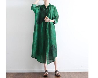 Womens Summer Loose Fitting Stand Collar Batwing Sleeve Silk Linen Blouses, Womans Casual Blouses, Casual Tops,Summer Blouses,Tops For Women