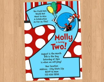 Dr Seuss 2nd Second Birthday Two Invitation Printable