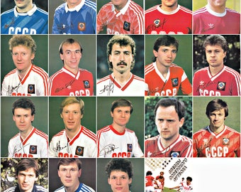 Stars of Soviet Football. Colored Photos of Football Players. Set of 18  Soviet Postcards. Moscow, 1989