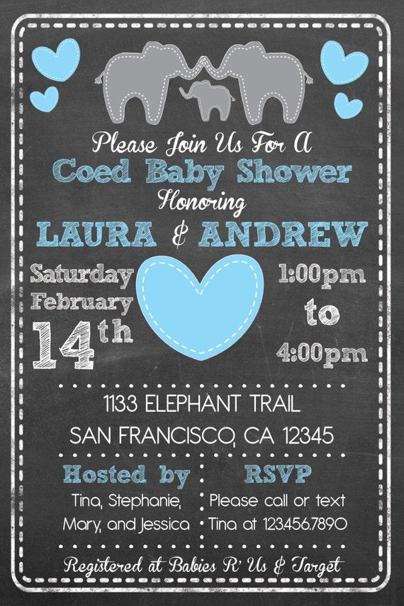 Printable Elephant Theme Coed Couples Baby Shower Set Invite