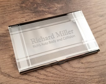 Business card holder gunmetal black with free engraving business card holder silver bars with free engraving personalized custom business or credit card holder reheart Gallery