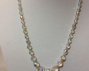 Vintage crystal aurora borealis necklace