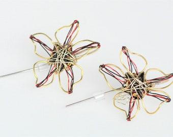Gold flower earring, long post, threader, cute, everyday, wire flower earring, boho chic, art handmade jewelry, Spring birthday gift for her