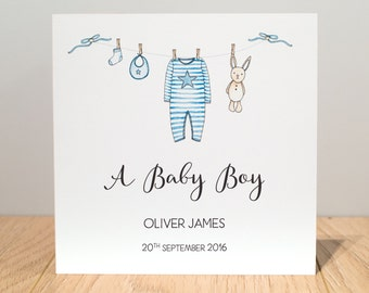 Personalised New Baby Boy Card - New Baby Cards- Personalised Baby Boy Card - New Baby Boy Card