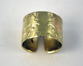 Etched Brass Magpie Ring - Adjustable size