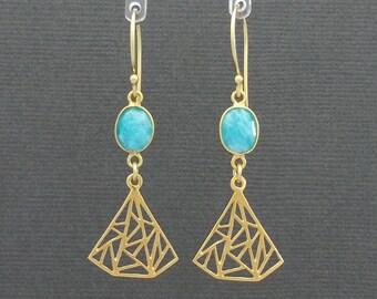 Amazonite Turquoise Blue Triangular/Fan Vermeil Earrings