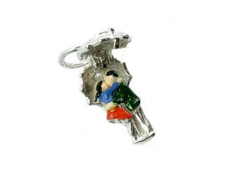 Sterling Silver Opening Kissing Couple Charm For Bracelets