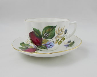 Royal Grafton Bone China Tea Cup and Saucer with Fruit Design, Vintage Teacup and Saucer, English Bone China