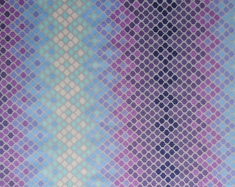 COTTON FABRIC blue and purple diamond design, patchwork, quilting, sewing