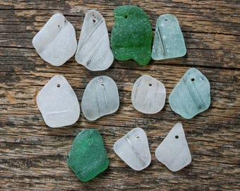 Drilled sea glass white sea glass bulk charms for necklace charms for jewelry making sea glass beads for jewelry making sea glass pendant