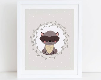 Raccoon Printable, Woodland Nursery Art Print, Instant Download, Digital Art Print, Woodland Animals Nursery Wall Decor, Raccoon Floral Art