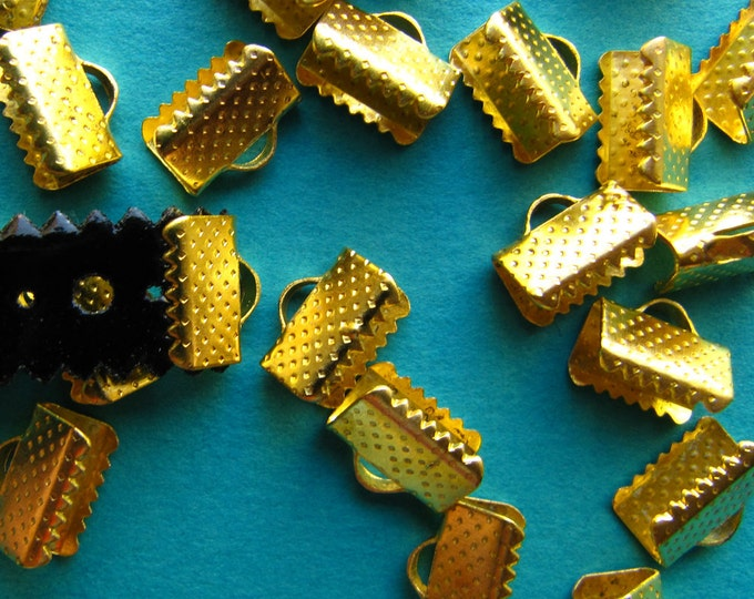20pcs. 10mm or 3/8 inch Gold Ribbon Clamp End Crimps