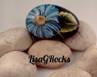 Blue Daisy Painted Rock