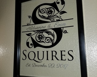 Custom Last Name Sign in Glass Frame - perfect wedding, anniversary, or housewarming gift!