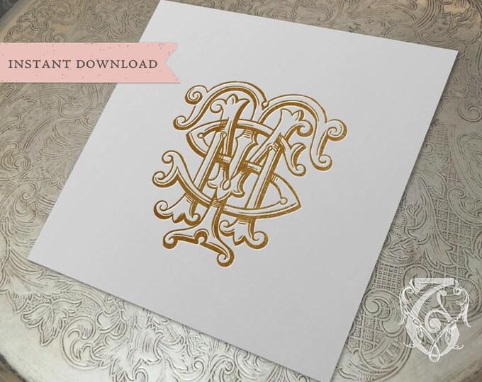 3 Initial Vintage Monogram MTS  Three Letter Wedding Monogram Digital Download M T S