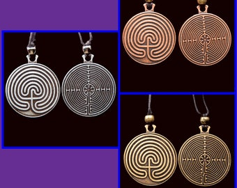 3 Labyrinth Pendants- Pewter Tone, Copper Tone, Gold Tone- sale - SALE - sale - SALE - sale - SALE - sale