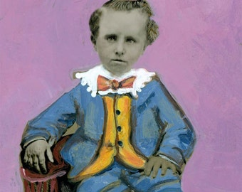 Painted Tintype Boy Fashionable Outfit Stripe Socks Greeting Card
