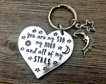 Hand stamped heart keyring, bag charm 'You are my sun, my moon and all of my stars', mothers day gift, gift for her