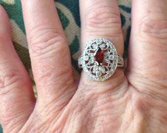 Vintage 925 Sterling Red Stone Filigree Ring Size 7