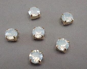Set of 6 White Opal 6mm Swarovski Chaton Montees,1028 Sew On Rhinestones, SS29, Choice of Settings, Swarovski Sew On Chatons