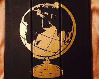 3-Part Gold Globe Canvas Wall Art/ Black Canvas/ Art Work/ Globe Art