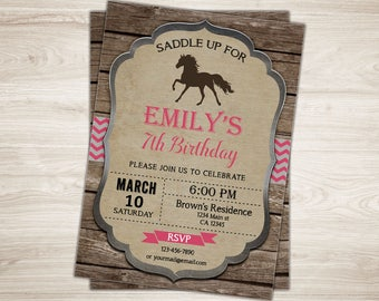 Cowgirl Birthday Invitation. Rustic Cowgirl Birthday Invite. Cowgirl Party Invite. Pink Cowgirl Invitation. Printable Wild West Party Invite