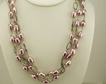 Claudia Agudelo Faux Freshwater Pearl Triple Strand Necklace