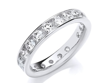 925 Sterling Silver 4mm Full Channel Set Cz Eternity Ring
