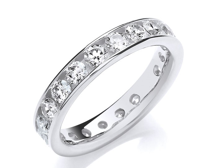 Sterling Silver Channel Set Full Eternity Baguette Cut Cz Ring Hallmarked ielmAM5